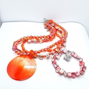 Necklace /bracelet Fashion Orange Pearlize Jewelry